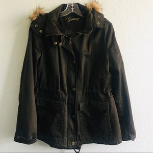 Guess Brown Jacket with Faux Fur on Hood